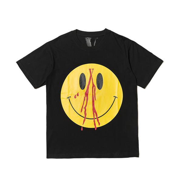 Vlone Erkek Tasarımcı T Shirt Bayan Hip Hop T-Shirt Yüksek Kaliteli Pamuk Tee Tişörtleri V Gülen Yüz Baskılı Giyim