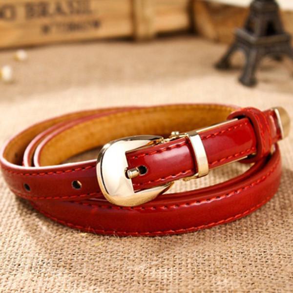 Clanrance Cintura donna color caramella Cintura sottile fibbia in lega in pelle ecopelle Cinturino a catena Cintura regali di lusso per le donne Moda