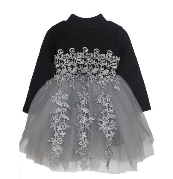 Meninas Vestido Outono New Black Princess Denim Vestido de Algodão de Manga Completa Crianças crianças vestidos para meninas Roupas 2 - 6 Anos