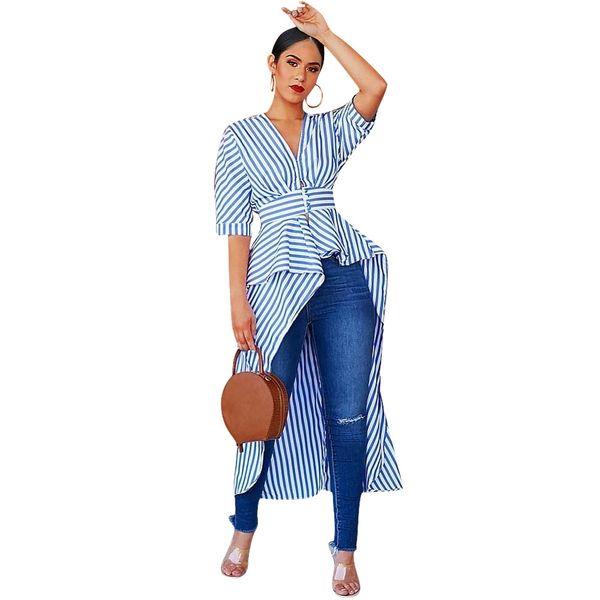 new women blouses striped half length sleeve v-neck irregular cocktail maxi blouses & shirts active wear fashion long dress