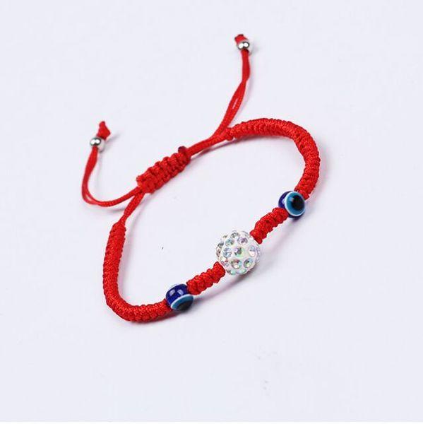 20pcs/lot Lucky Kabbalah Red String Hamsa Bracelets Blue Turkish Evil Eye crystal beads Charms Women Handmade Friendship Jewelry