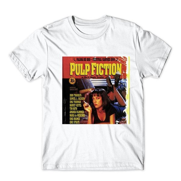 New Fashion Brand Pulp Fiction T shirt jules Print T shirt Summer Short Sleeve Shirts top tee white tshirt