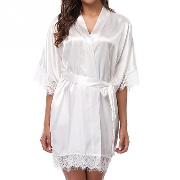 Сексуальные женщины Robe Женщины шнурка Silk Nightgown Шнуровка Половина рукава Короткие пижамы женские свадебные Кимоно Халат Пижамы # 5