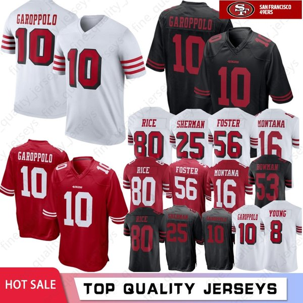 new styles 3cbb2 5768d 2019 10 Jimmy Garoppolo San Francisco 49ers Jerseys 7 Colin Kaepernick  McGlinchey 25 Richard Sherman 56 Reuben Foster 80 Jerry Rice16 Joe Montana  From ...