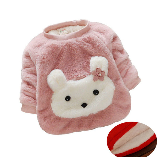 good quality winter girls children sweater warm cotton clothes for kids cloting cartoon rabbit o-neck pius velvet children outerwear