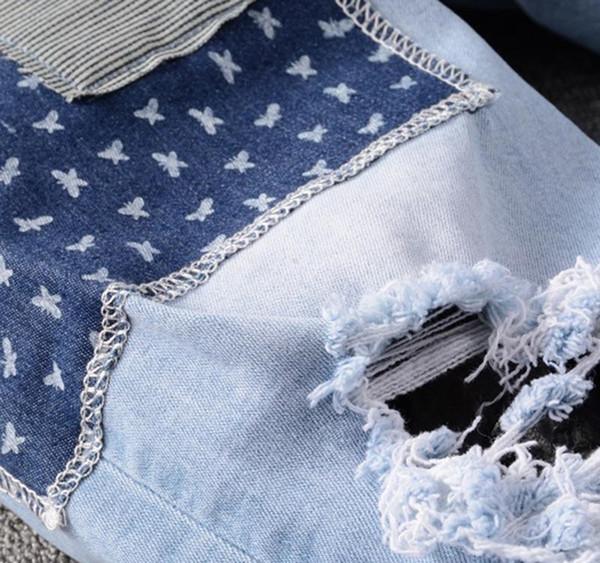 Luxyry Erkekler Jeans Delik Fermuar Yüksek Kalite Erkekler Jeans Casual Erkek Pantolon Açık Mavi Beden 28-40