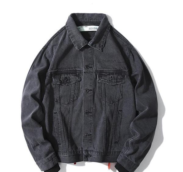 19S otoño e invierno OFF OW denim blanco Monet petróleo pintura buque de la chaqueta de la flecha sueltos hombres y mujeres casuales de la chaqueta M-2XL