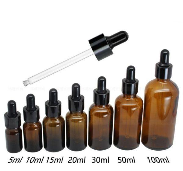 Kahverengi Kozmetik Cam Şişeler Damlalık Aromaterapi 5 ml 10 ml 15 ml 20 ml 30 ml 50 ml 100 ml Uçucu Yağ Parfüm şişeleri Toptan