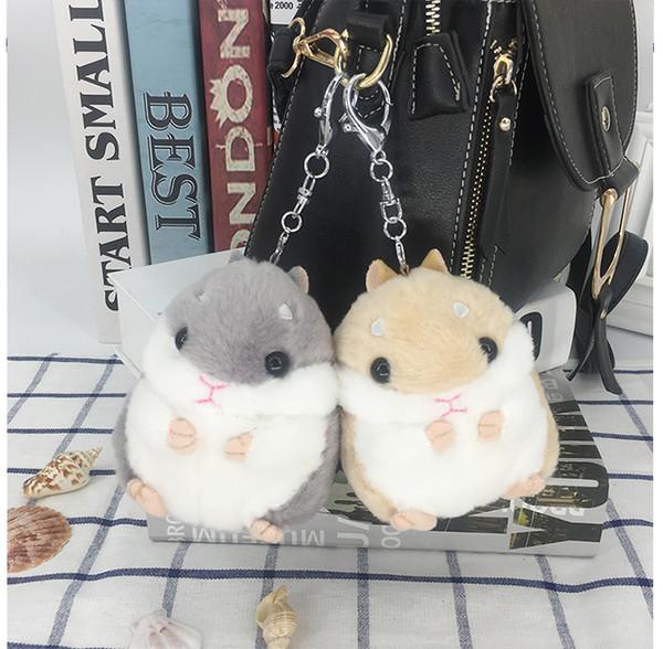 Hamster Keychains Kids Kawaii Cute Plush Hamster Cartoon Animal Small Hamster Dolls Stuffed Mouse Bag Pendant Novelty Items CCA11803 60pcs