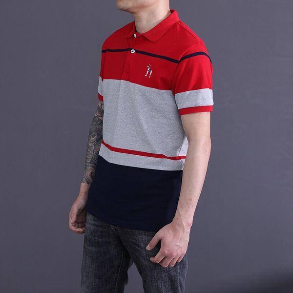 HZ Striped Ricamo Mens Polo Estate Slim risvolto Mens Top Adolescenti a contrasto a contrasto colore Tees