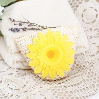 Sac de paille de tournesol mignon épaule petite fleur de soleil sac à bandoulière tissé sac porte-clés