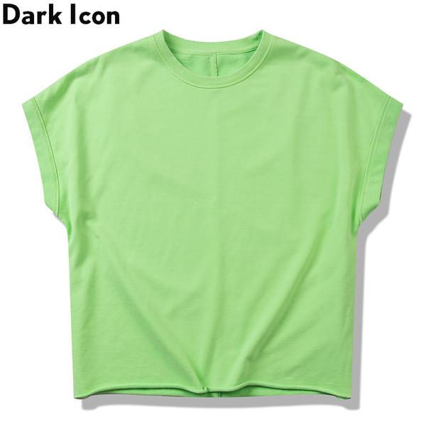 Moletom Verde Fluorescente Sem Mangas Em Torno Do Pescoço Cor Sólida Moletons Básicos Dos Homens Camisola de Grandes Dimensões