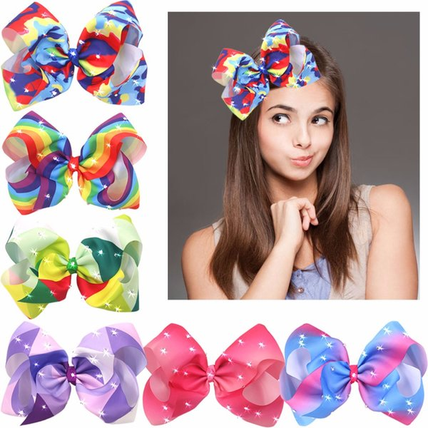 8 Inches Big Giant Grosgrain Ribbon Boutique Bling Sparkly Rainbow Hair Bows Clips For Baby Girls Teens Toddlers Gifts Set Of 6