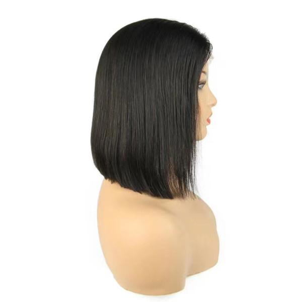 Cheveux mongols bob pleine perruque de lacet naturel droite 100% vierge produits de cheveux humains bob avant de lacet perruques non transformés cheveux crus courte longueur