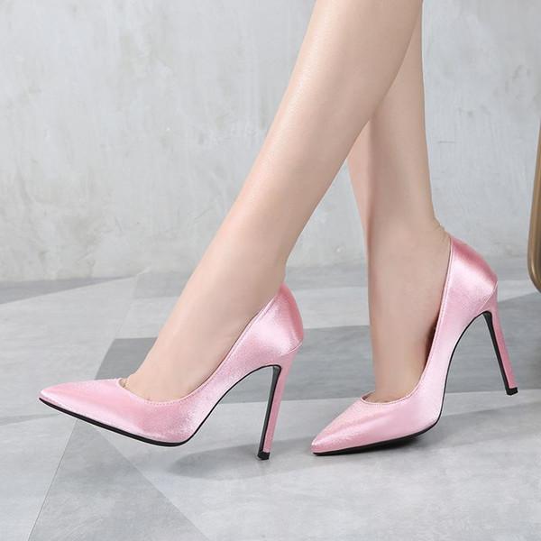 Lucky2019 Rot Große Sexy Nachtclub Flacher Mund Hochzeit Dame Silk Designer Heels Kleid Schuhe Für Bankett