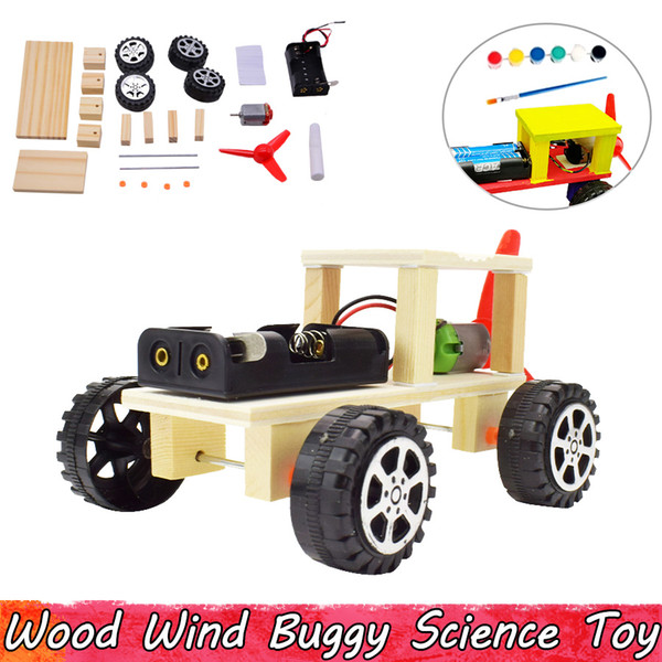top popular Wood Wind Buggy Experiment Science Toys DIY Assembling Educational Toys for Children Improve Brain Ability Gifts 2021