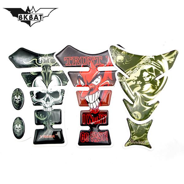 BKBAT 3D Motorcycle Decal Tank Pad Protector Skull Racing Car Sticker For YAMAHA r6 mt09 2017 mt09 tracer xj6 banshee motorcycle