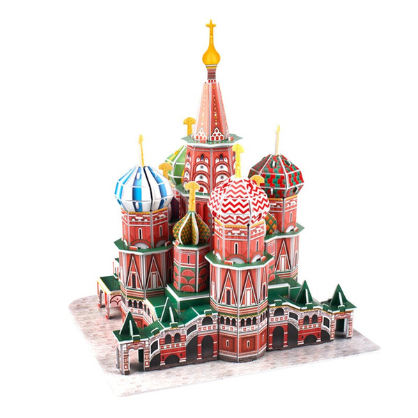 Classic Jigsaw Puzzle Russia Moscow Saint Basil's Cathedral Enlighten Construction Brick Toys Scale Models Sets World Building Block