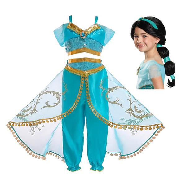 comprare in vendita grande sconto acquista autentico Acquista Pettigirl Aladdin Jasmine Princess Costume Bambini Cosplay Girl  Carnevale Halloween Bambini Party Clothing Sets Abbigliamento Bambini ...