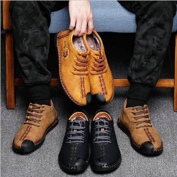 Brand Mens Loafers Fashion winter warm with fur Handmade Moccasins Cow Leather Men Flats Men Casual Flats Shoes big size LH-39