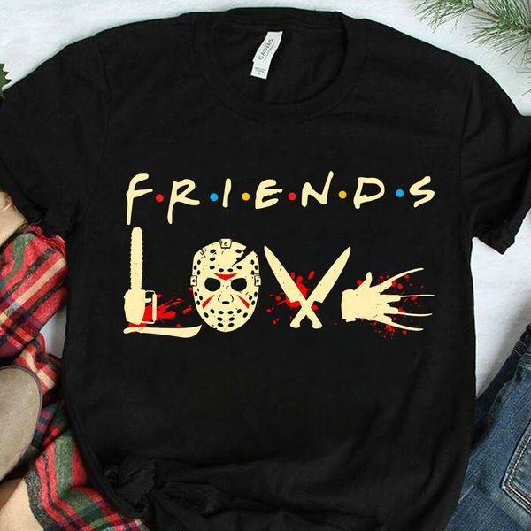 Presente Homens amigos Pennywise Michael Myers Jason Voorhees Dia das Bruxas T-shirt
