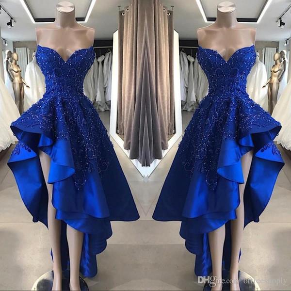 2020 Nouveau Bleu Royal Court Haut Bas Robes De Bal Perlée Appliques Chérie Asymétrique Longue Une Ligne Robes De Soirée De Soirée Sur Mesure