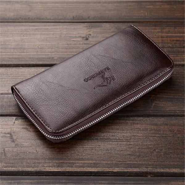 Factory wholesale brand men bag simple Joker leather long wallet business fashion men hand take money clip casual leather wallet