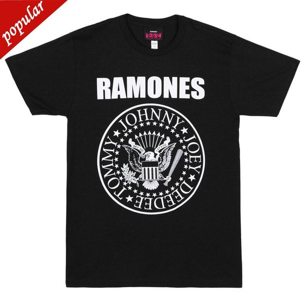 Ramones-Presidentiële печать логотип Zwarte футболка-GLOEDNIEUWE-Officiële 100% Katoen футболки Merk Kleding топы тройники
