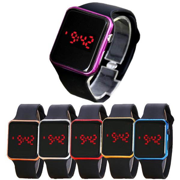 Hot new miroir carré bande de silicone montre numérique alliage rouge shell LED montre montre à quartz montre horloge de sport heures WCW068