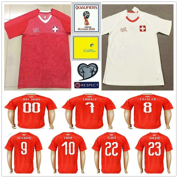 03f747077 2018 World Cup Switzerland Soccer Jerseys Home Red Away White 10 XHAKA 9  SEFEROVIC 8 FREULER