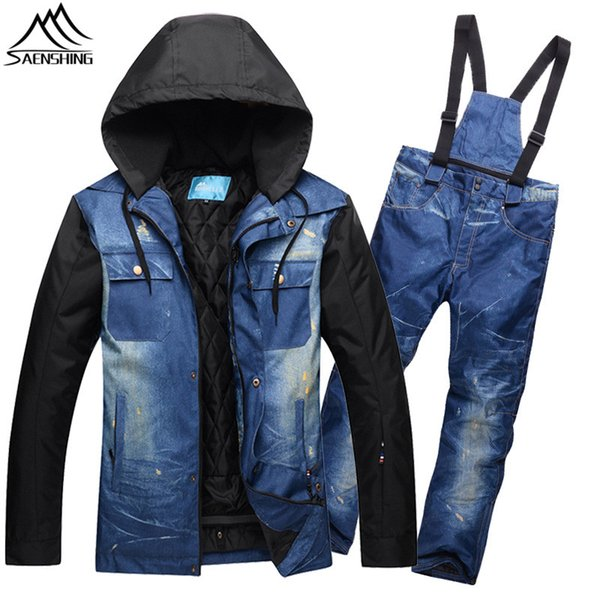 SAENSHING Denim Ski Jacket Men Snowboarding Suits Warm Waterproof Winter Ski Suit Male Breathable Outdoor Mountain Skiing Suit