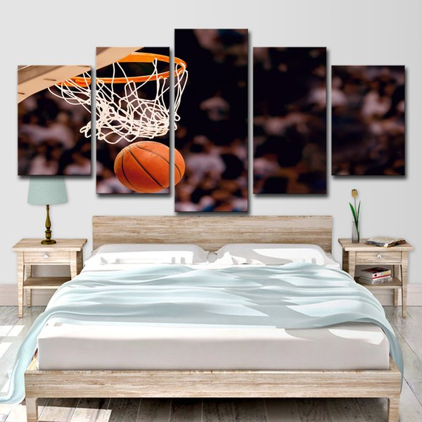 HD Printed 5 Piece Canvas Art Basketball Circle Painting Ball Game Wall Pictures for Living Room Modern Free Shipping