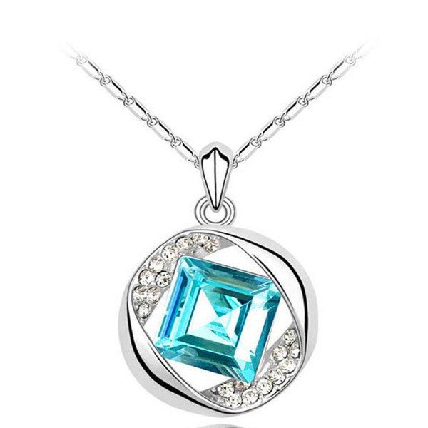 Austrian Crystal square Necklace Pendant Necklace Light Blue Sweater Chain Statement Necklace New Fasion