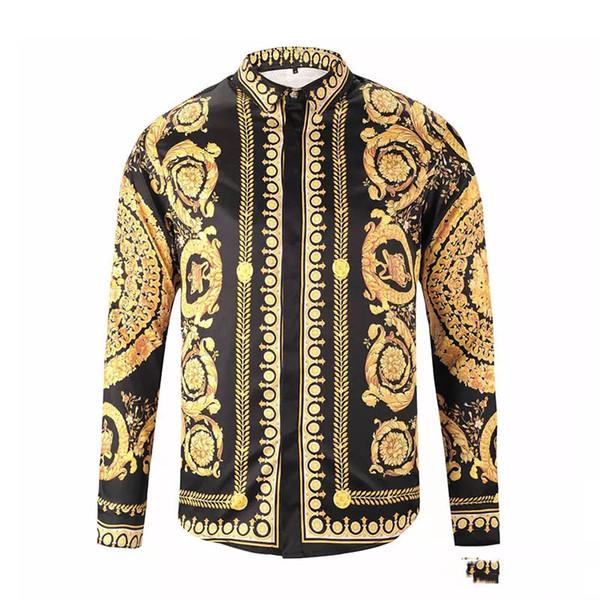 top popular NEW new spring and autumn cotton shirt men Medusa flower retro color printing casual Harajuku luxury men's dress shirt M-XXL 2020