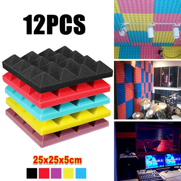 top popular 12PCS Pyramid Acoustic Foam Studio Acoustic Treatment Wall Stickers SoundProof Panel Decorative Material Sound Insulation Tiles 25X25X5cm 2021