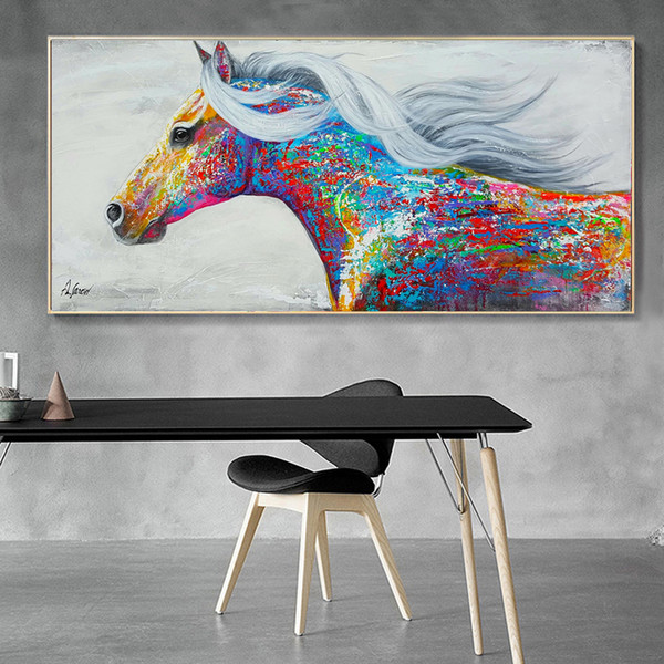 Modern Colorful Horse Canvas Artwork Horse Oil Painting Print on Canvas Large Canvas Wall Poster for Home Living Room Decoration