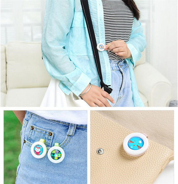 top popular Summer Baby Anti-mosquito Buckle Adults Cartoon Mosquito Repellent Button Mosquito Repellent Non-toxic Clip Mixed Color DHL Selling E22402 2021