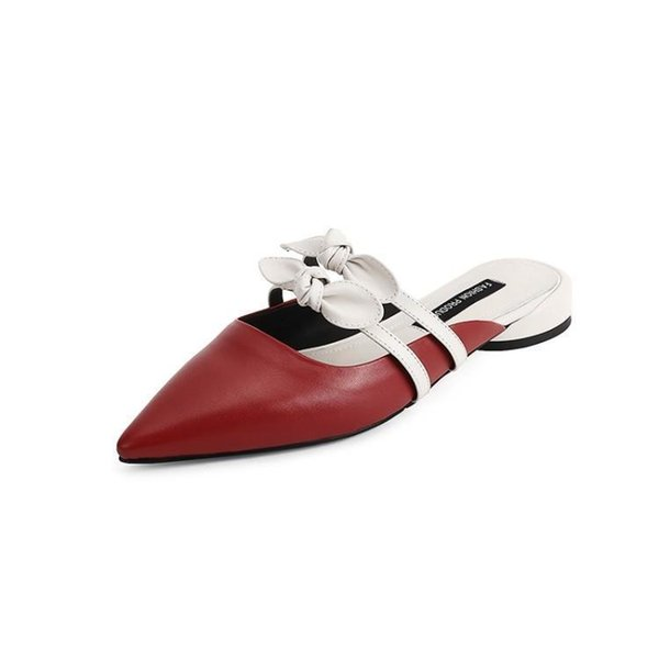 2019 Spelling Red Color Genuine Leather Bow Level Baotou One Font Other Clothes Woman Cool Slipper