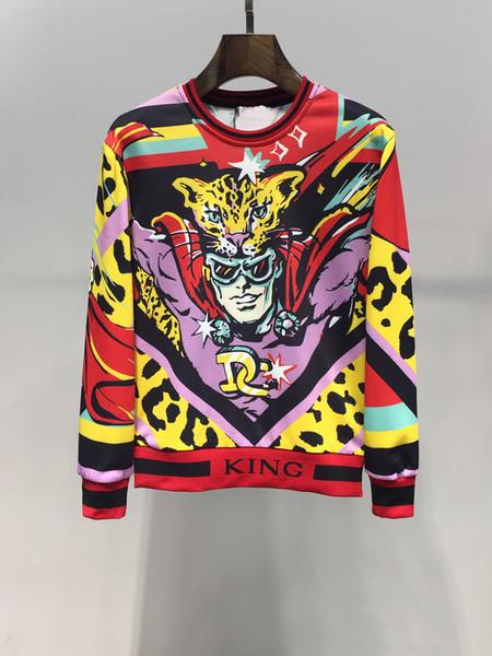 Sudadera 2019 Otoño Hombre Moda Cuello redondo Suéter Leopardo Superman Héroe Estampado Camiseta de manga larga Talla M-3XL