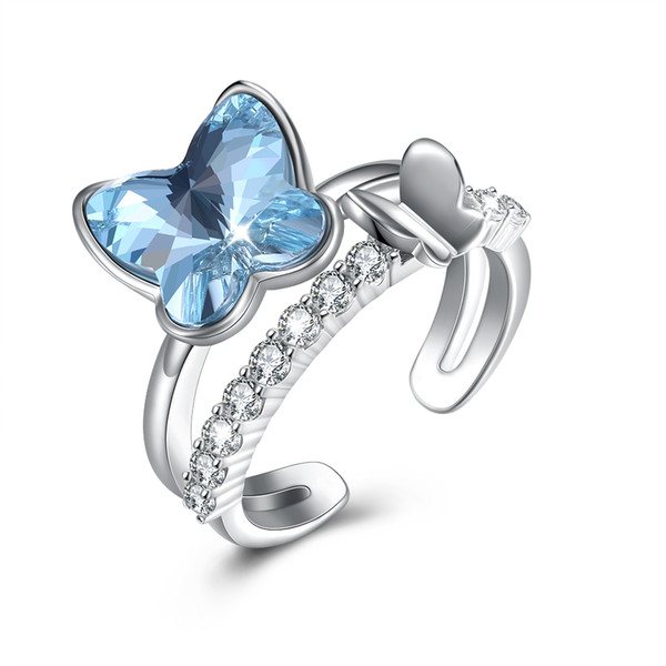 Stylish Band Rings Crystal From Swarovski Elements Butterfly Shaped S925 Sterling Silver Opening Ring Female New Year Jewelry Gift POTALA393