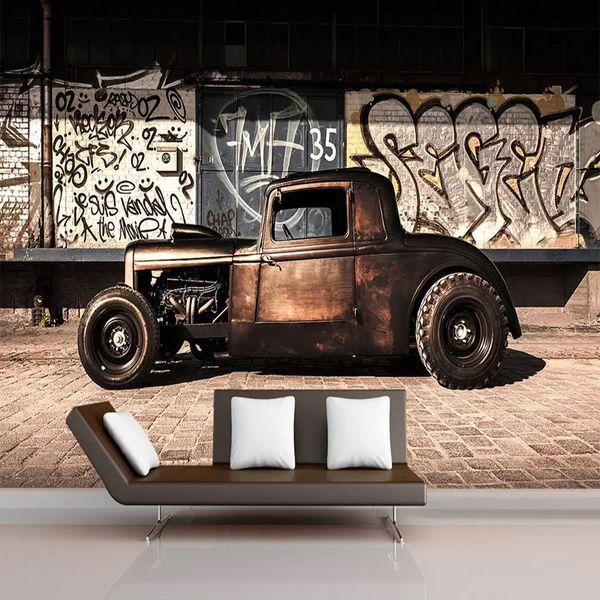 Benutzerdefinierte Fototapete 3D Retro Graffiti Nostalgie Old Car Mural Restaurant Cafe Wohnzimmer Hintergrund Wand Decor 3D Wandpapier
