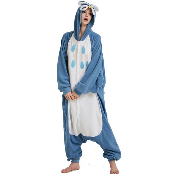 Cosplay Owl Onesie Adult Costume Blue Fleece For Women Pajamas Kigurumi Batwing Winter Sleepwear For Halloween Animal Pijamas