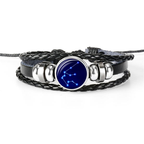 High Quality 12 Horoscope Zodiac Aquarius Time Gem Glass Cabochon Button Bracelet Black Leather Rope Beaded Woven Jewelry For Women Men Gift