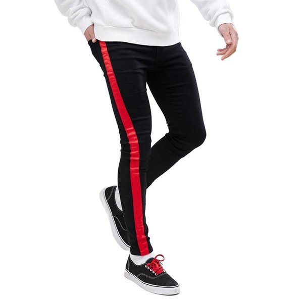Black Striped Mens 19ss Pantalones vaqueros de diseñador Ropa de hombre Primavera otoño Slim Fit Street Jean Pantalones