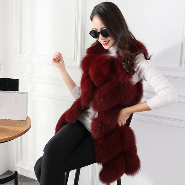 Red Autumn Winter Warm Women Fur Vests Pure Color Round Neck Sleeveless Lady Outerwear Casual Long Style Women'S Jacket