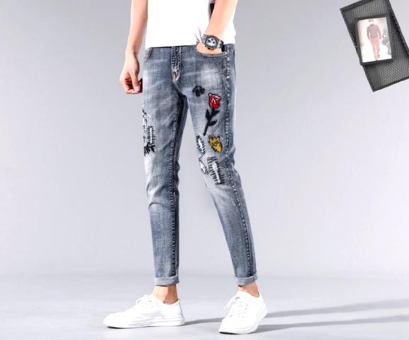 Men Jeans Design Fashion Biker Hole Jeans Slim straight Ripped Jeans Blue Brand Casual Mens Trousers GU13393