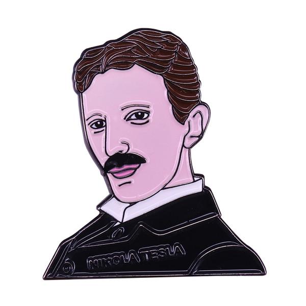 Nikola Tesla science enamel pin geek nerd badge electrician scientist gift ideas