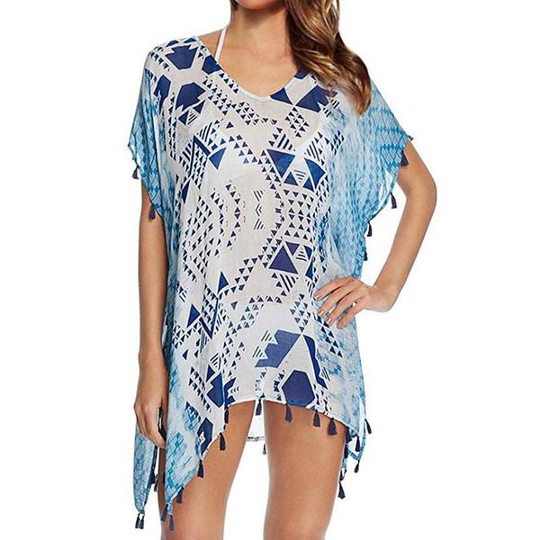 Bleu Imprimé Mousseline De Soie Bikini Maillots De Bain Cover-Ups Avec Gland Femmes été couvrir up Maillot De Bain O-Cou beachwear Beach Loose Dress F630