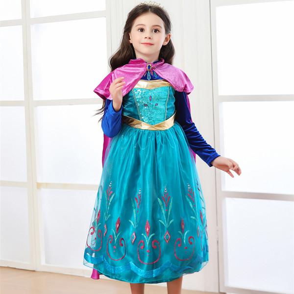 Meninas Cosplay congelado 2 Vestidos Snow Queen Anna Duas peças conjunto de vestido de princesa Vestidos Crianças figurinista Girls Dress Desempenho 3-8T 04