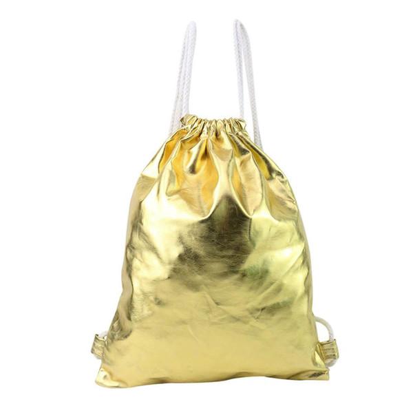 86608ab135d2 2019 Новое Прибытие Рождественский Подарок Хранения Рюкзаки женская Мода  Золотой Рюкзак Drawstring Сумка Женская Кошелек Кожаная